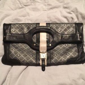 L.A.M.B. Carlisle Convertible Clutch Leather Gray